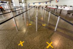 Unused check in desks at the Melbourne International Airport due to COVID 19 on 19 April, 2020 in Melbourne, Australia. (Photo by Speed Media/Icon Sportswire)