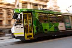 MELBOURNE, AUSTRALIA - JULY 29: A view of a Melbourne Tram on Swanston Street with the Melbourne Town Hall seen in the background during COVID 19 on 29 July, 2020 in Melbourne, Australia. As sustained high numbers of new Coronavirus cases are being discovered, Metropolitan Melbourne and the Mitchell Shire remain under Stage 3 restrictions with facemasks being made mandatory on 23 July. 295 new cases were found overnight bringing the states total active case numbers to 4,775. (Photo by Speed Media/Icon Sportswire)