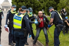 A man is arrested after being told to move on during the Melbourne Freedom Rally at The Shrine. Premier Daniel Andrews promises 'significant' easing of Stage 4 restrictions this weekend. This comes as only one new case of Coronavirus was unearthed over the past 24 hour and no deaths.